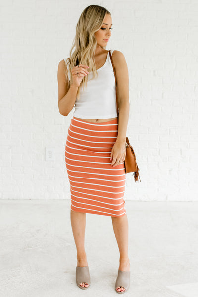 Terracotta Orange and White Comfortable Soft and Stretchy Women's Boutique Skirt