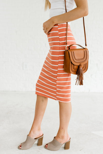Terracotta Orange and White Striped Fitted Knee-Length Boutique Skirts for Women