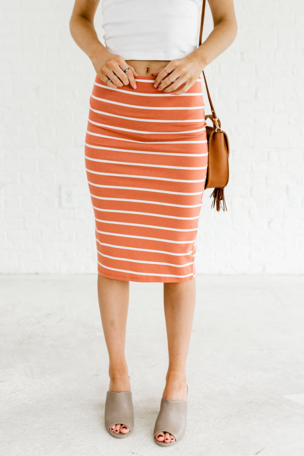 Terracotta Orange and White Striped Boutique Knee-Length Skirts for Women
