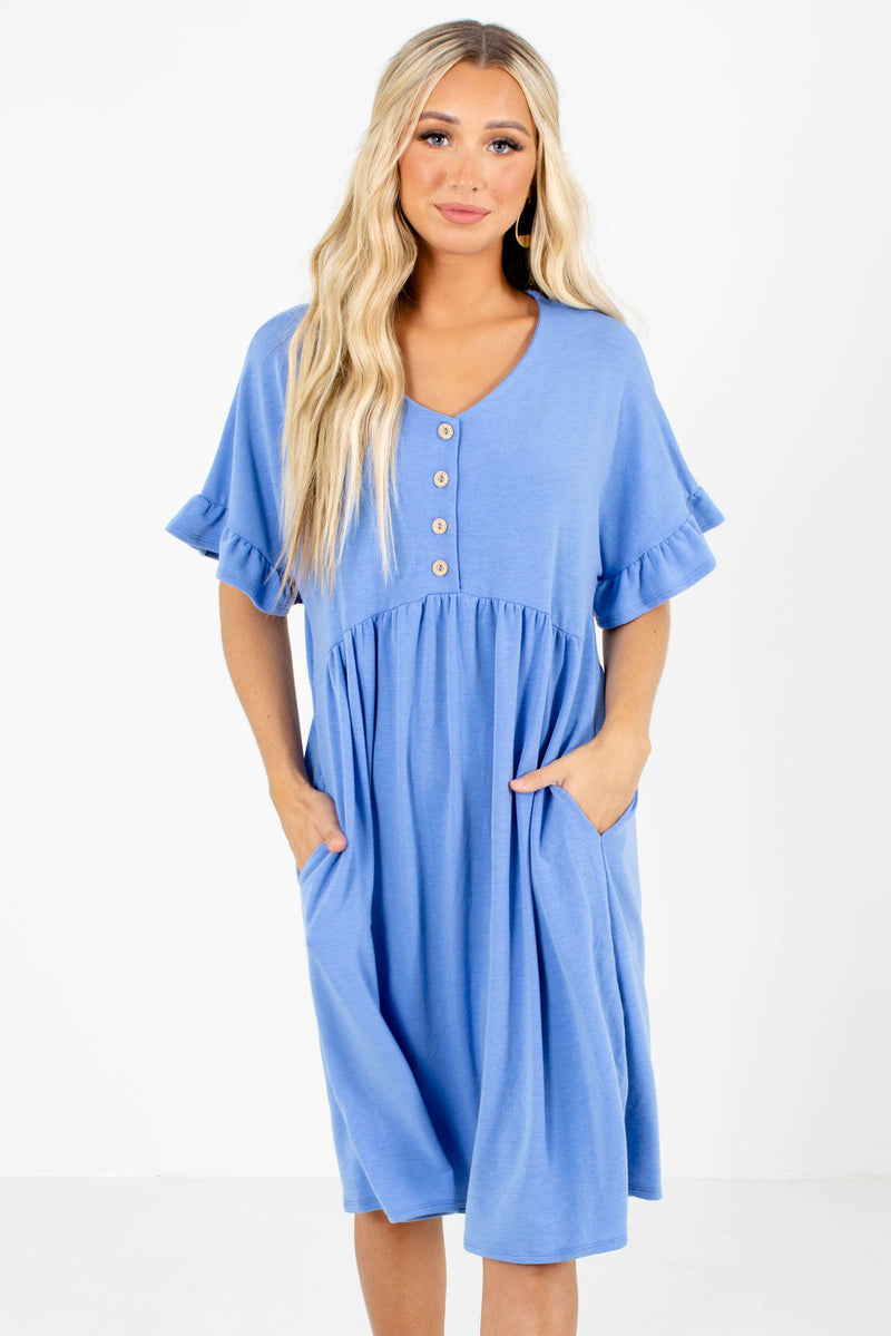 Sunny Day Blue Knee-Length Dress