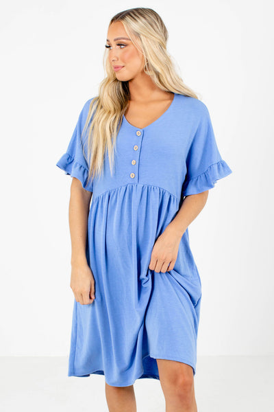 Women's Blue Casual Everyday Boutique Knee-Length Dress