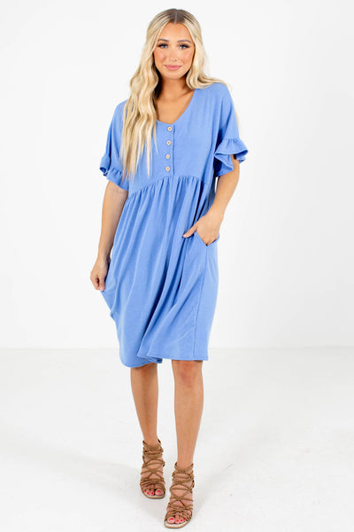 Blue Cute and Comfortable Boutique Knee-Length Dresses for Women