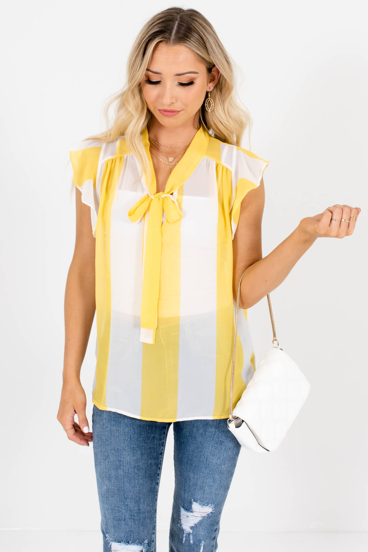 Yellow White Striped Pussybow Tie Ruffle Blouses for Women