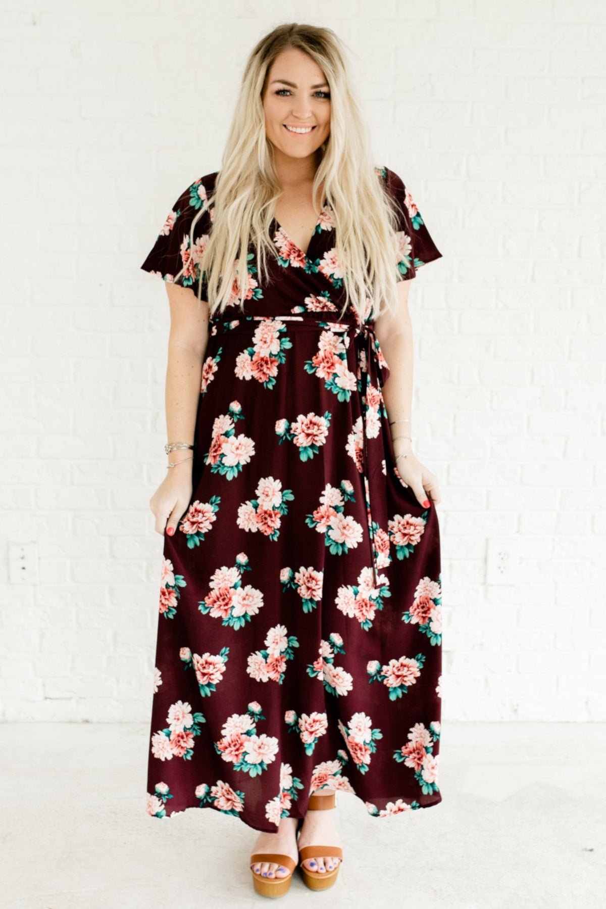 Sunset Romance Purple Floral Maxi Dress