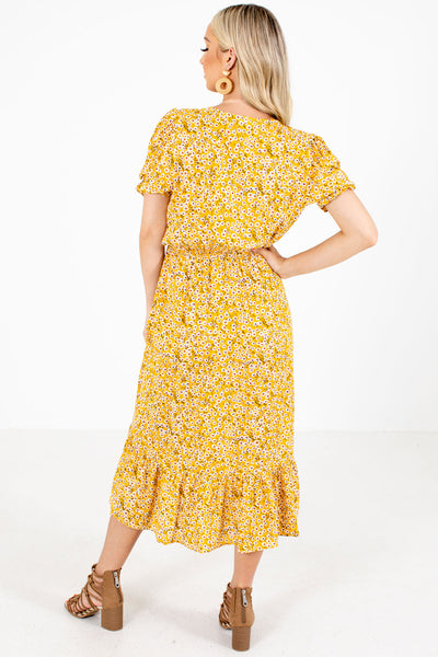 Women's Yellow Elastic Waistband Boutqiue Midi Dress