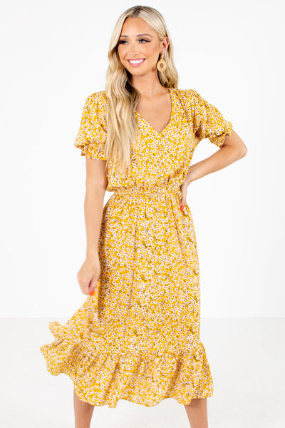Yellow Multicolored Floral Patterned Boutqiue Midi Dresses for Women