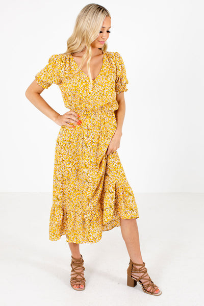 Women's Yellow V-Neckline Boutique Midi Dress