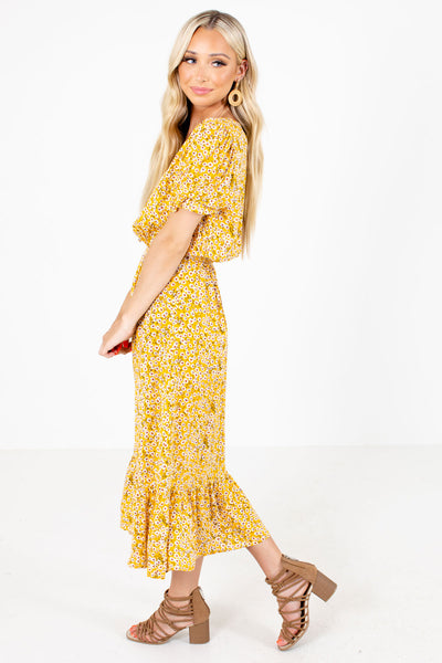 Yellow Decorative Button Boutqiue Midi Dresses for Women