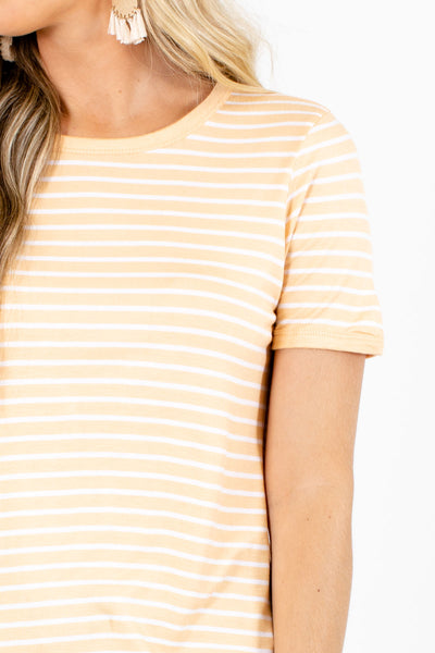 Women's Orange Everyday Boutique Striped Top