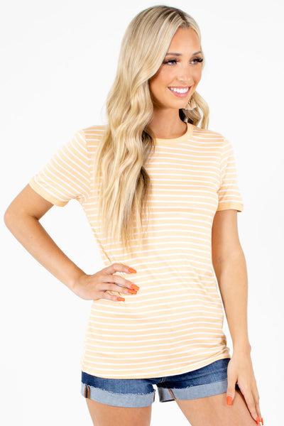 Orange Stretchy Material Boutique Tops for Women