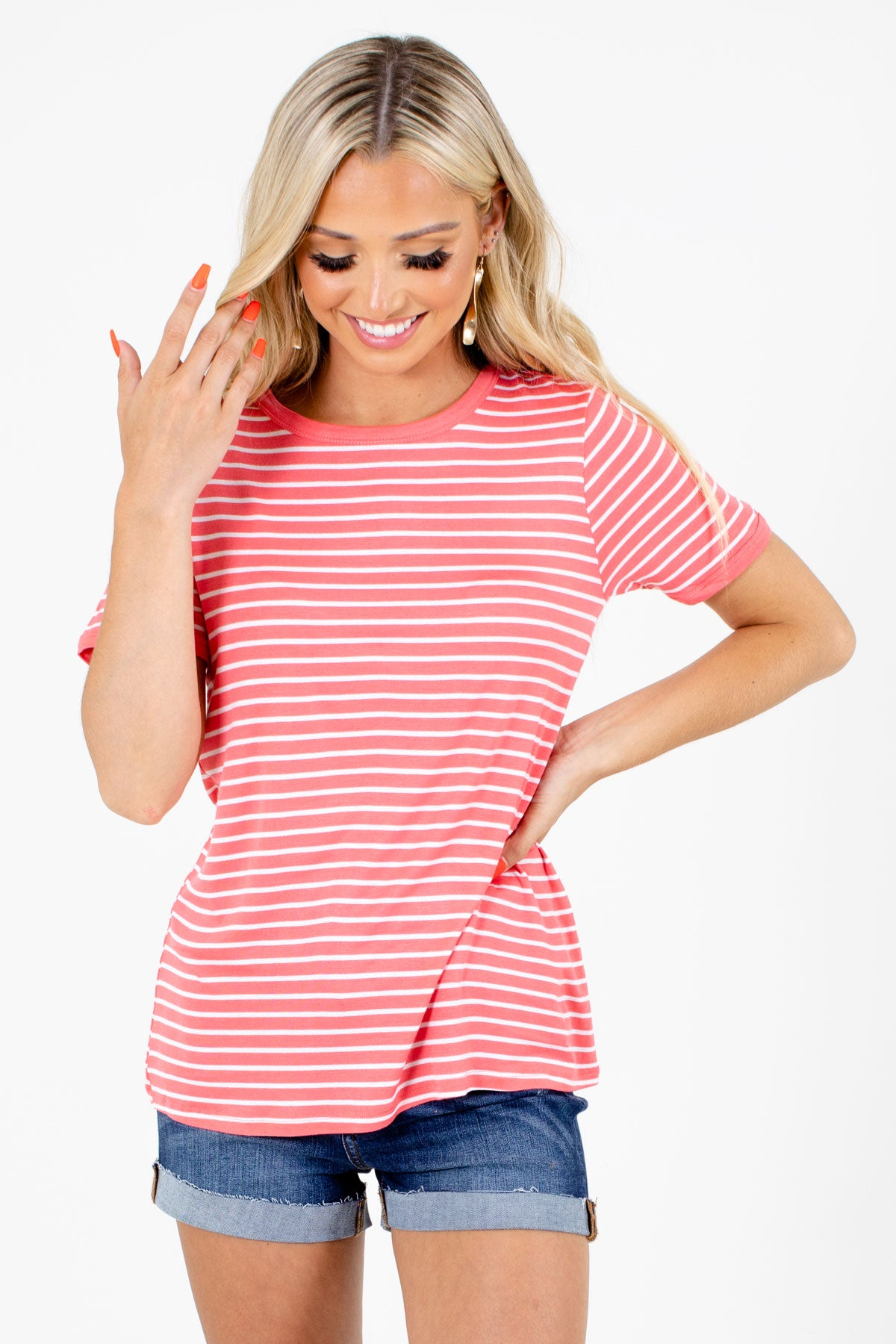 Pink and White Striped Boutique Tops for Women