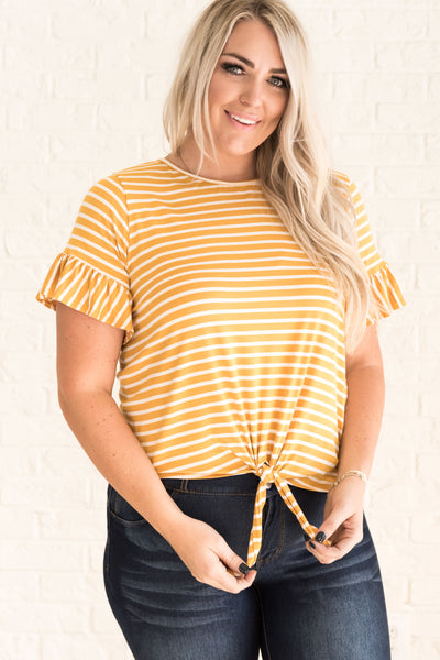 Mustard Plus Size Yellow Tie Front Top for Women