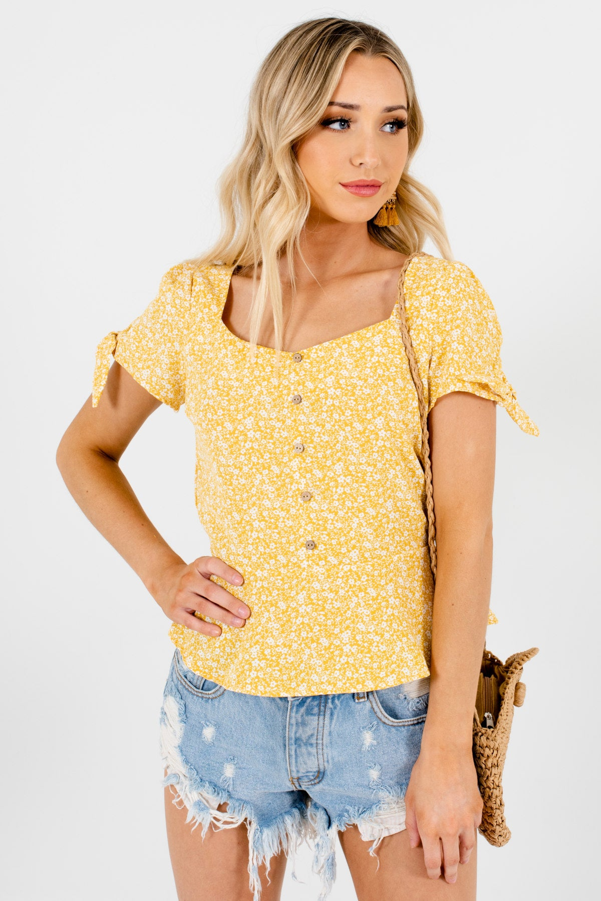 Yellow and White Floral Patterned Boutique Tops for Women