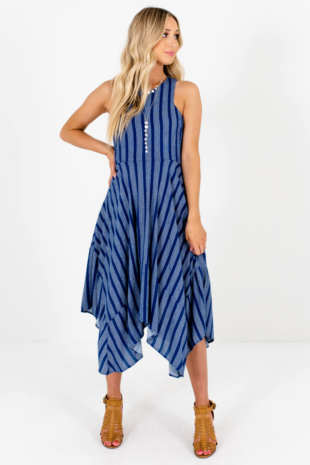 Blue and White Stripe Patterned Boutique Dresses for Women