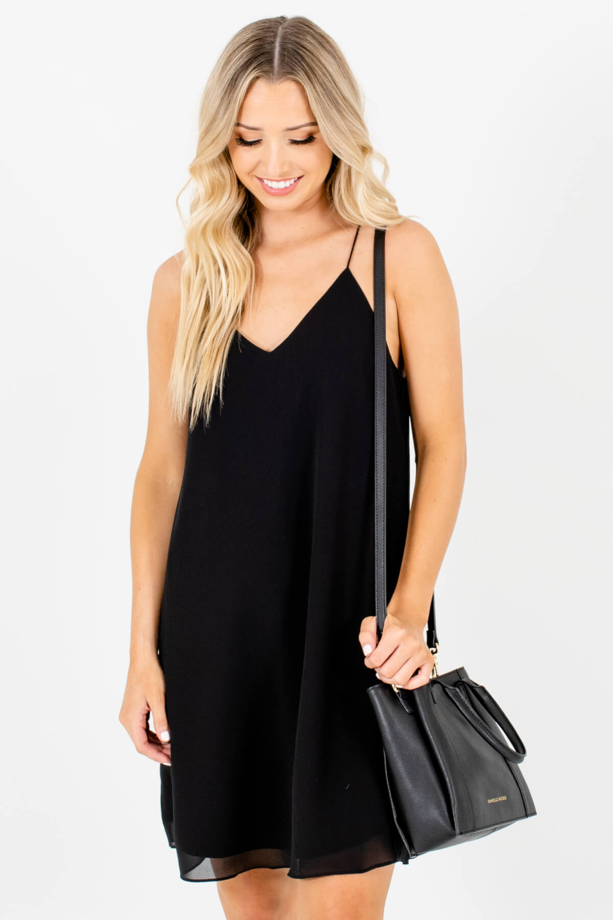 Black Back Pleated Accented Boutique Mini Dresses for Women