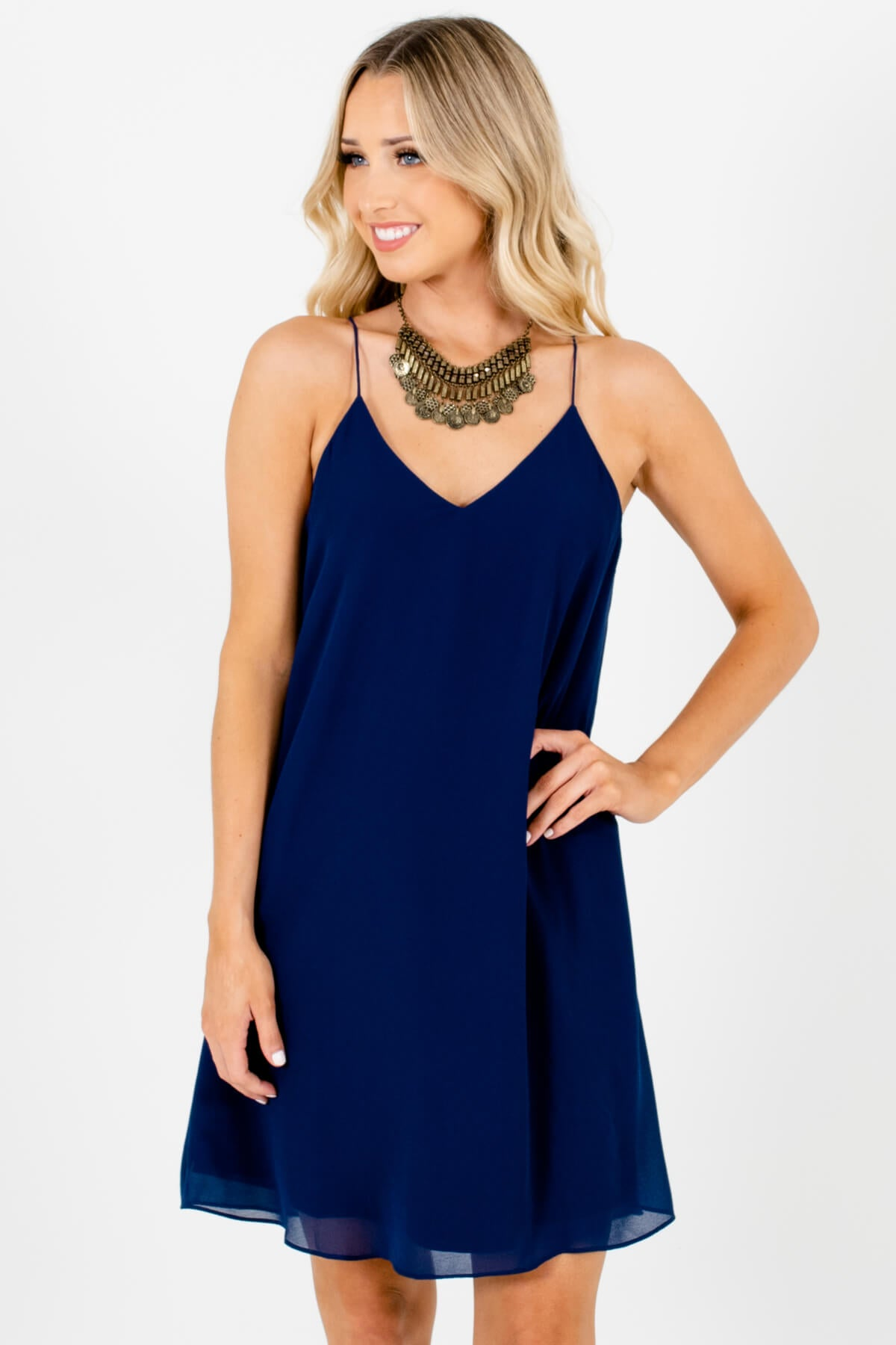 Navy Blue Back Pleated Accents Boutique Mini Dresses for Women