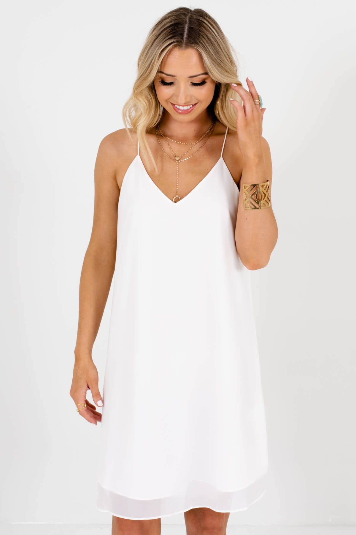 White Back Pleated Accented Boutique Mini Dresses for Women