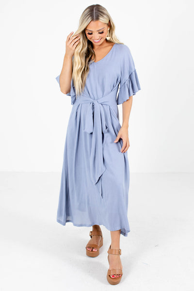 Blue Flowy Silhouette Boutique Maxi Dresses for Women