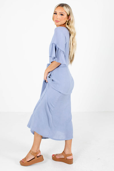 Blue Waist Tie Detailed Boutique Maxi Dresses for Women