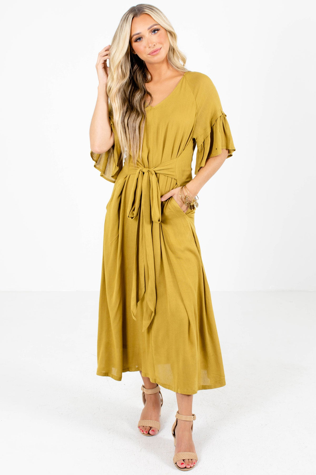 Yellow Boutique Maxi Dresses with Pockets for Women