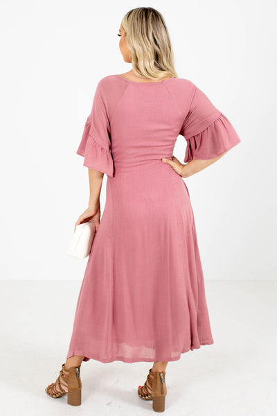 Women's Pink Waist Tie Detail Boutique Maxi Dress