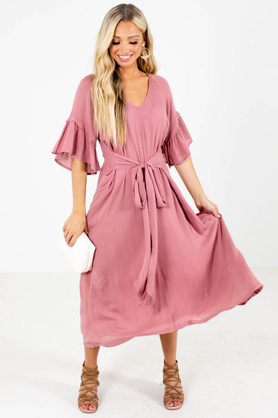 Pink Flutter Sleeve Boutique Maxi Dresses for Women