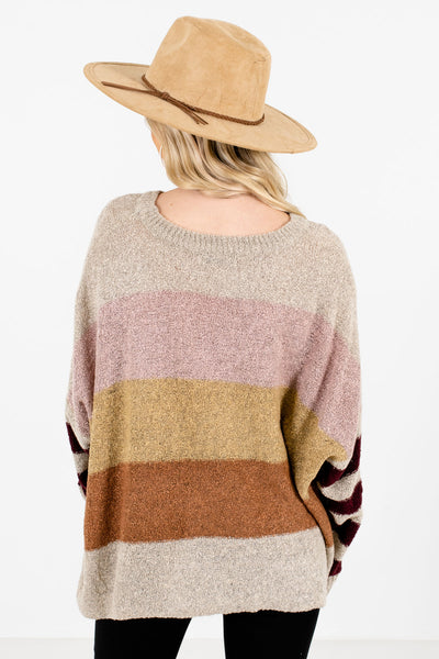 Women's Beige High-Quality Knit Material Boutique Sweater