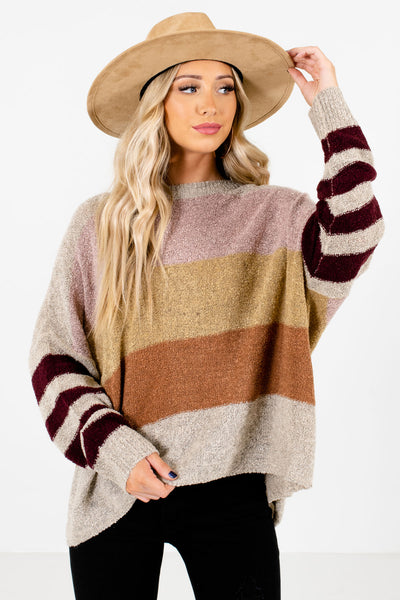 Beige Multicolored Striped Color Block Pattern Boutique Sweaters for Women
