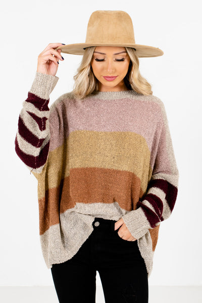 Women's Beige Round Neckline Boutique Sweaters