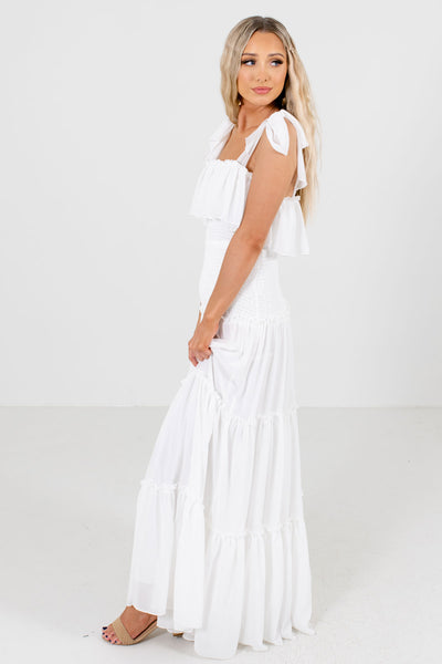 White Partially Lined Boutique Maxi Dresses for Women