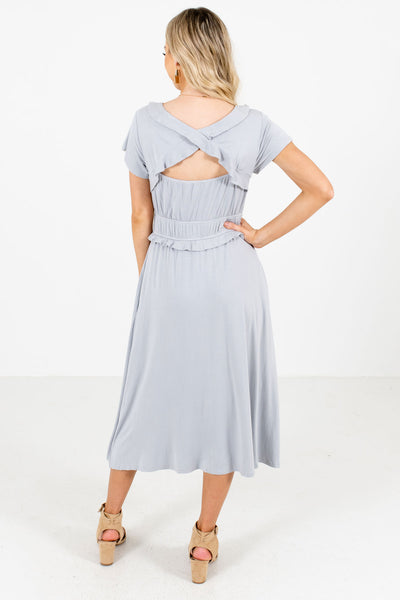 Women's Light Blue Open Back Detail Boutique Midi Dress