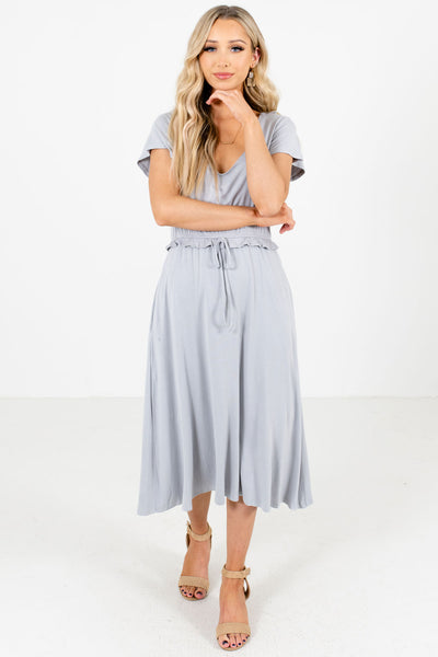 Women's Light Blue V-Neckline Boutique Midi Dress