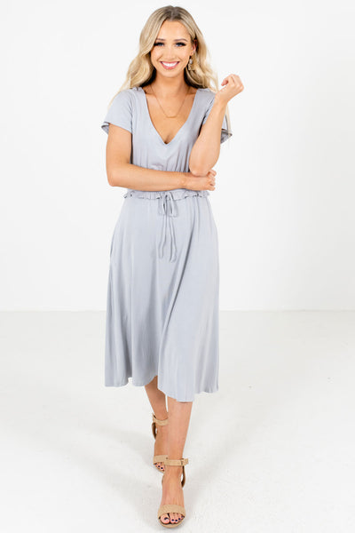 Light Blue Cute and Comfortable Boutique Midi Dresses for Women