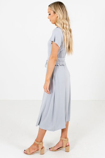 Light Blue Self-Tie Waist Accent Boutique Midi Dresses for Women
