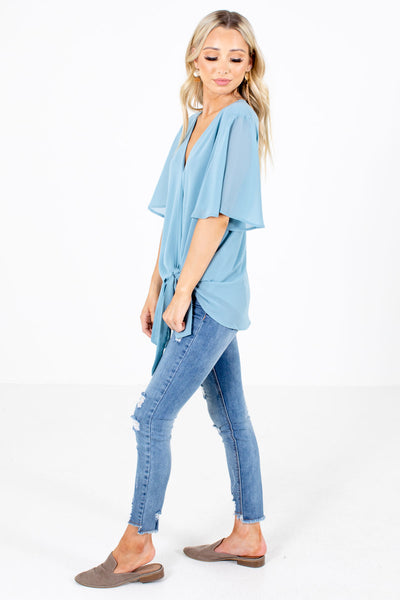 Blue High-Low Hem Boutique Blouses for Women