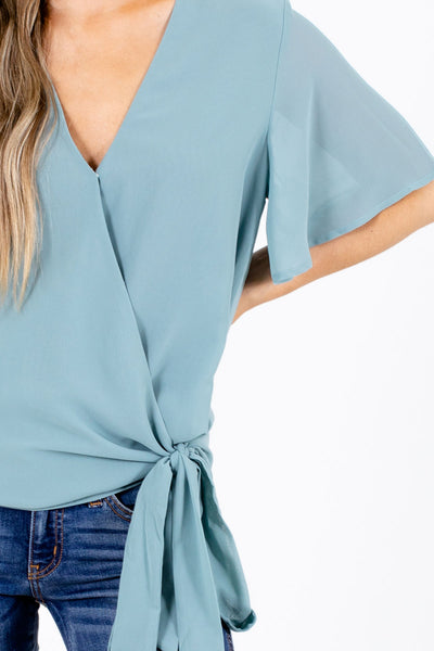 Women's Green Waist Tie Detail Boutique Blouse