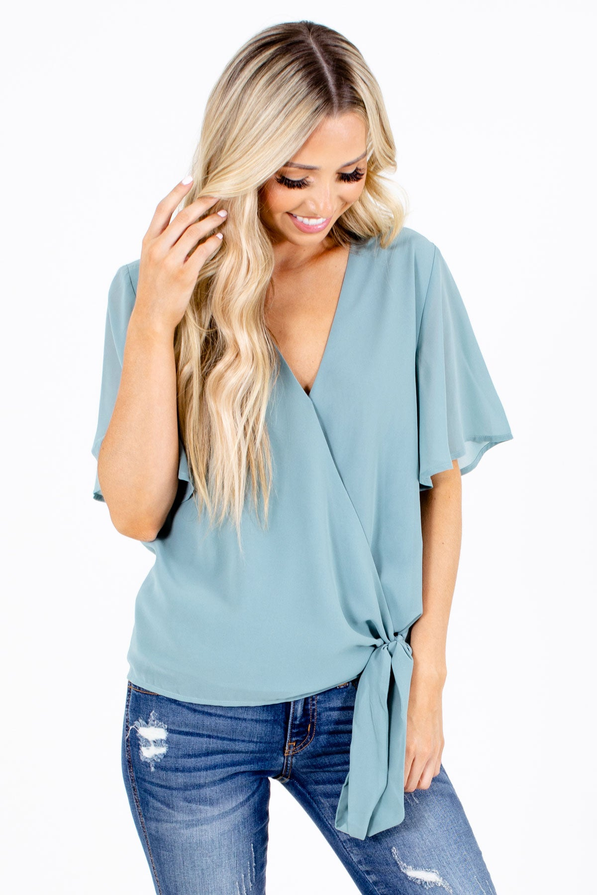 Green Wrap Style Boutique Blouses for Women