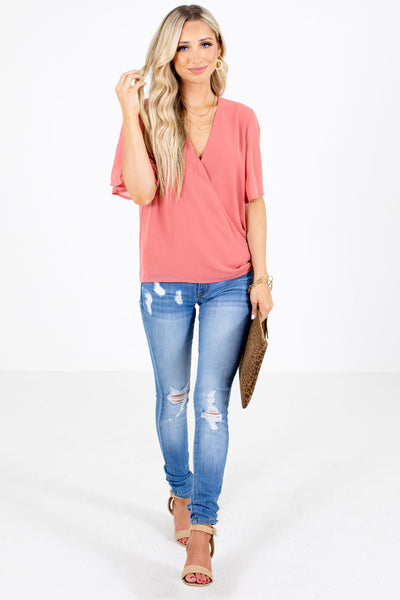Pink Button Closure Boutique Wrap Tops for Women