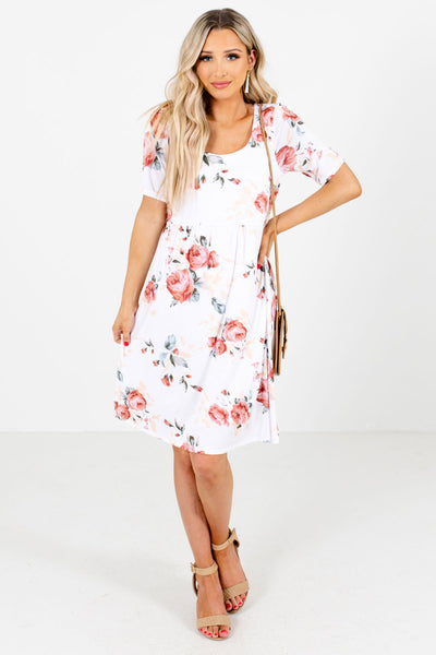 White Round Neckline Boutique Floral Mini Dresses for Women