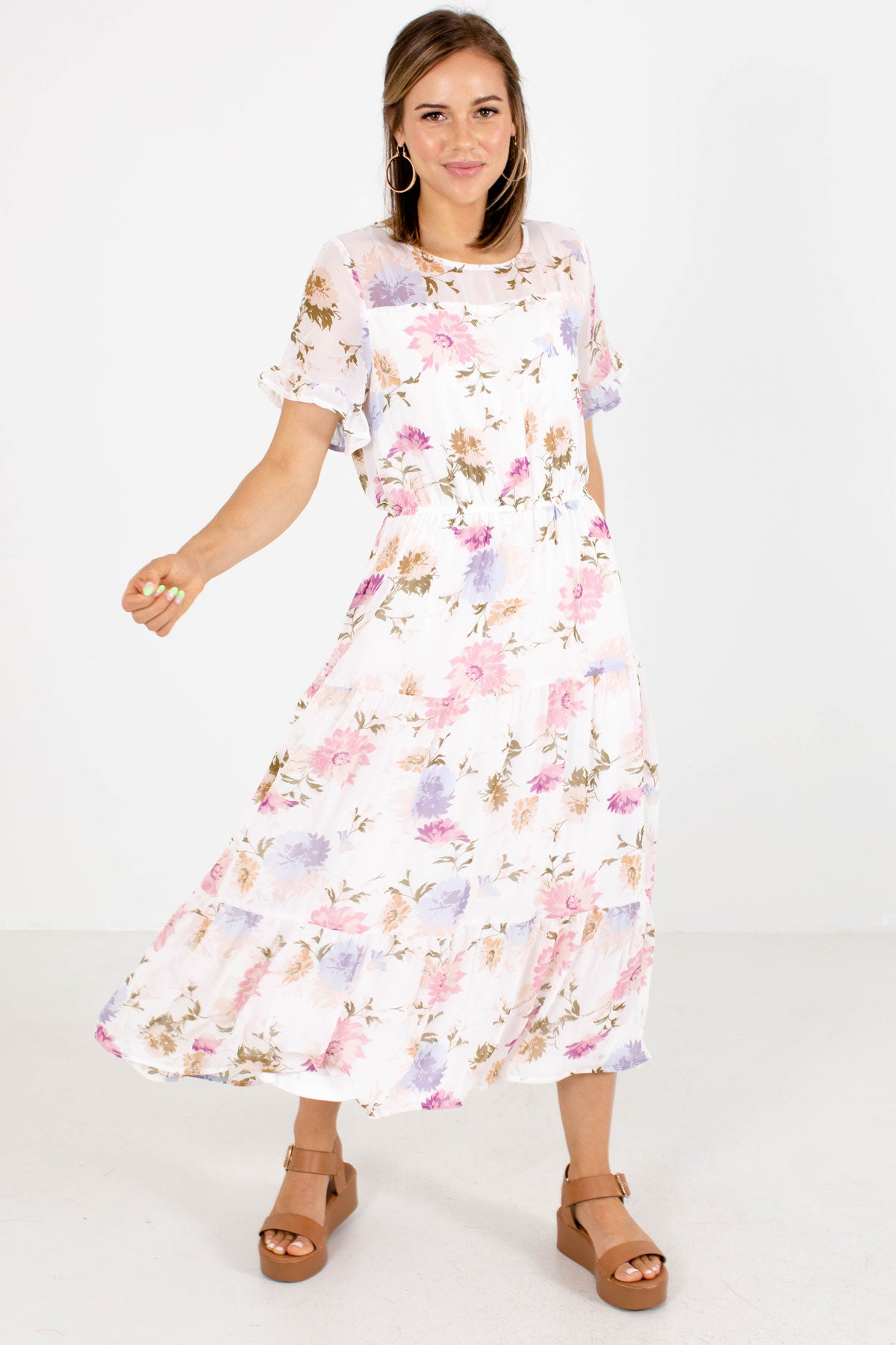 White Floral Boutique Midi Dresses for Women