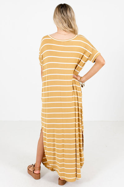 Women's Yellow Boutique Maxi Dresses with Pockets