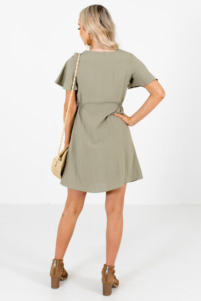 Women's Olive Smocked Accented Boutique Mini Dress