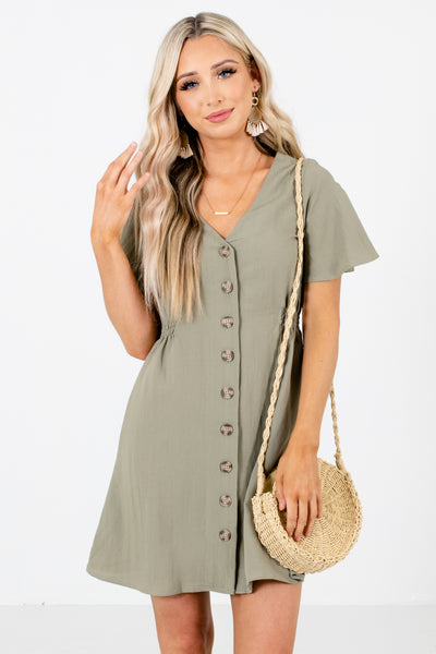 Olive Button-Up Front Boutique Mini Dresses for Women