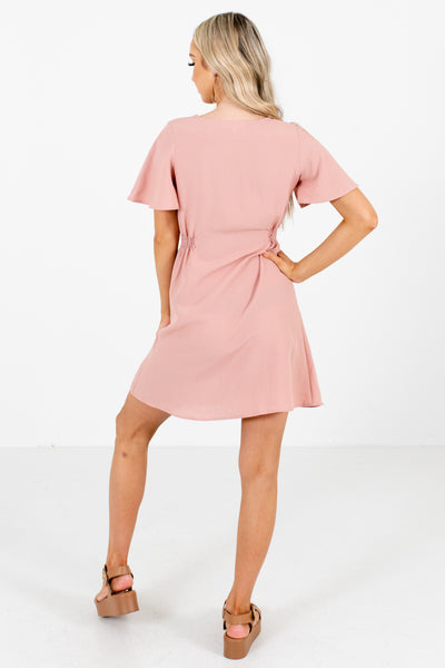 Women's Pink High-Quality Material Boutique Mini Dress