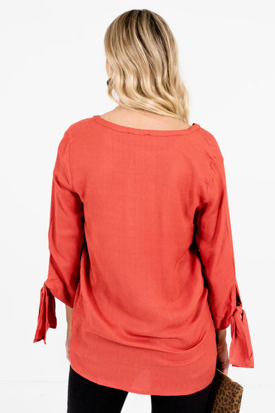 Women's Dark Coral Self-Tie Sleeve Boutique Blouse