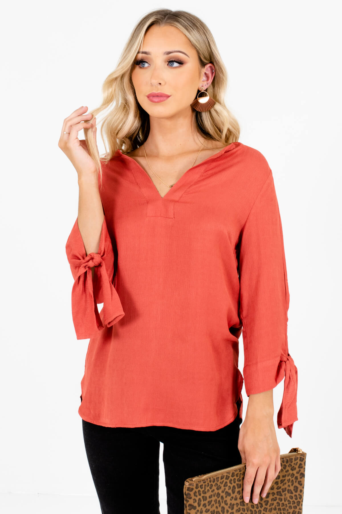 Dark Coral Split V-Neckline Boutique Blouses for Women