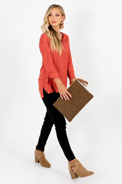 Dark Coral Cute and Comfortable Boutique Blouses for Women