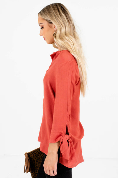 Dark Coral High-Low Hem Boutique Blouses for Women