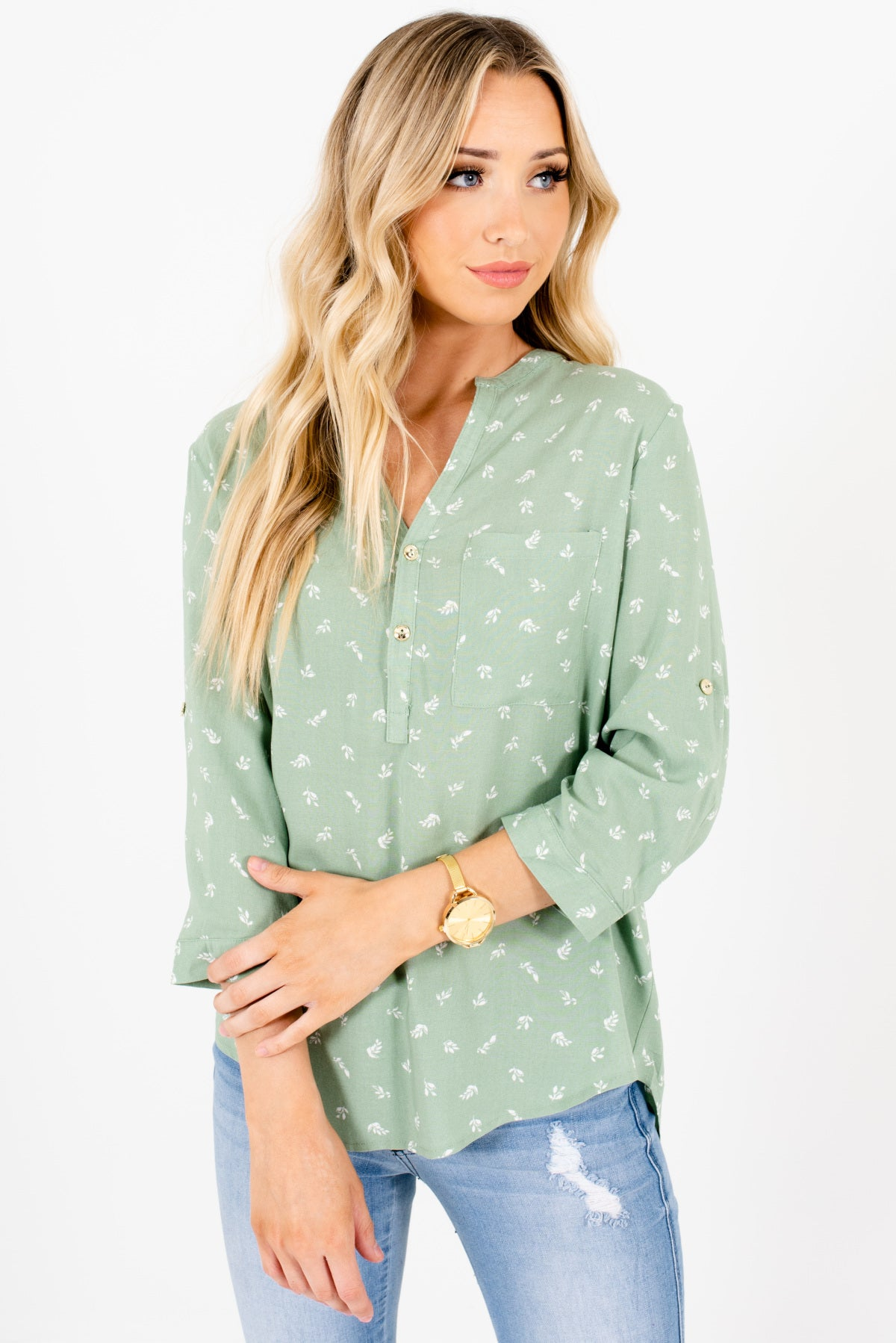 Sage Green and White Leaf Patterned Boutique Blouses for Women