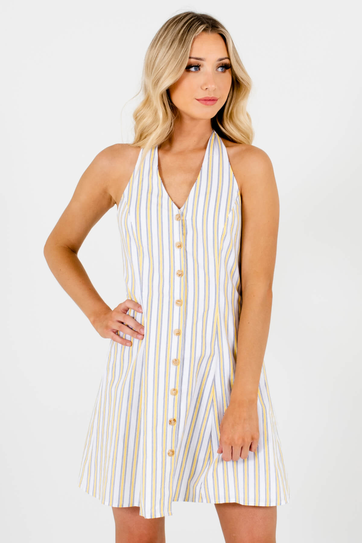 White Yellow and Blue Striped Patterned Boutique Mini Dresses for Women